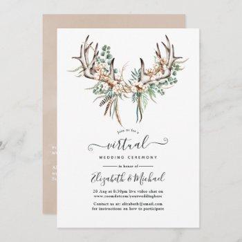 boho cotton and eucalyptus boho virtual wedding invitation
