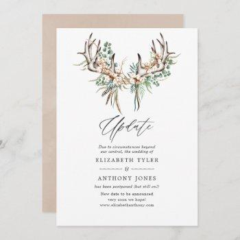 boho cotton and eucalyptus boho wedding update invitation