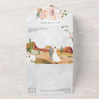boho desert cactus | all in one wedding invite