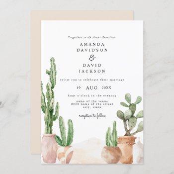 boho desert mexican cactus bohemian chic wedding invitation