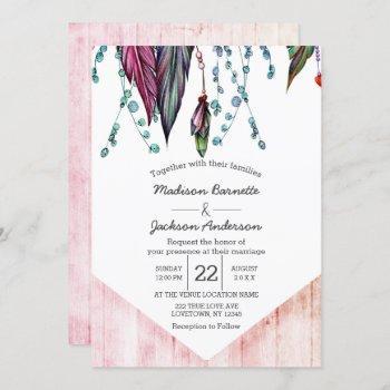 boho dream catcher & feathers wedding invitation
