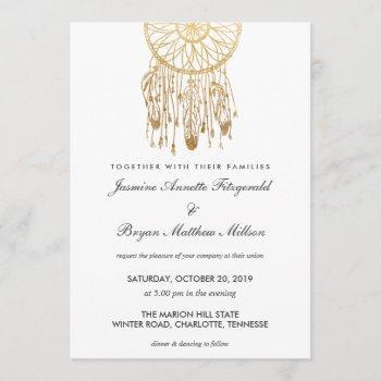boho dreamcatcher faux gold foil tribal wedding invitation