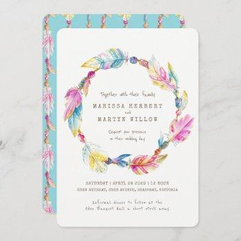 boho feather beads watercolor wedding invites