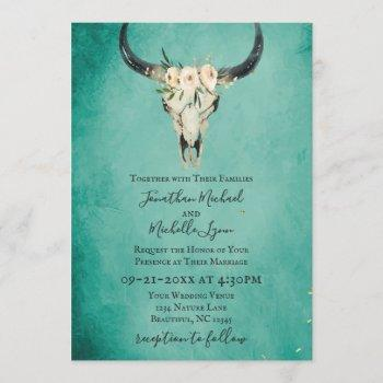 boho floral cow skull on turquoise wedding invitation