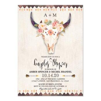 boho floral watercolor cow skull couples shower invitation