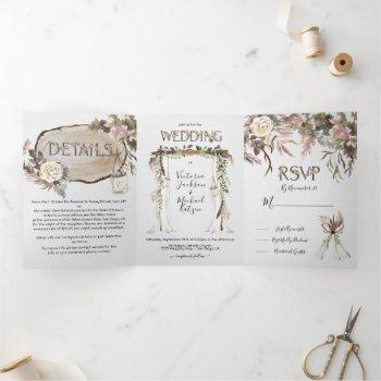 boho floral woodland wedding tri-fold invitation