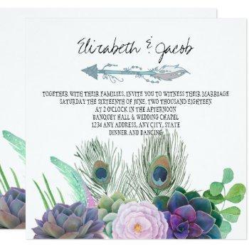 boho succulents wedding invitation
