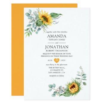 boho sunflower eucalyptus wedding invitation