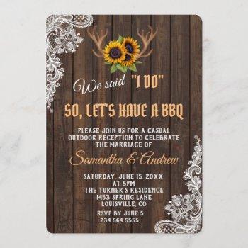 boho sunflowers antlers wedding i do bbq invitation