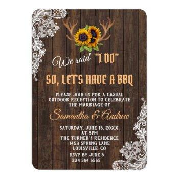 boho sunflowers antlers wedding i do bbq invitation