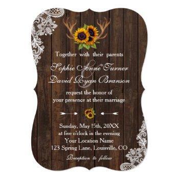 boho sunflowers antlers wood lace wedding invitation