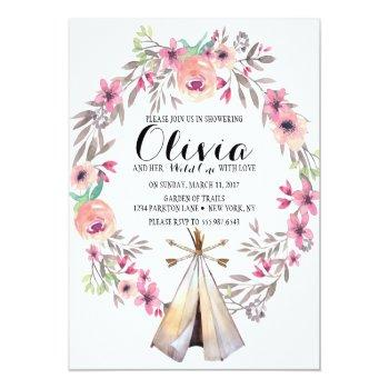 boho tribal baby shower invitation floral teepee