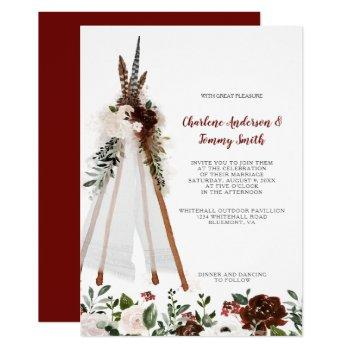 boho tribal feathers floral bouquet teepee wedding invitation