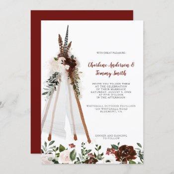 boho tribal feathers floral bouquet teepee wedding invitation