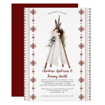 boho tribal feathers floral teepee wedding   invitation