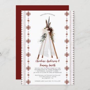 boho tribal feathers floral teepee wedding | invitation