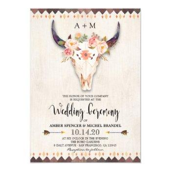 boho tribal floral antlers cow skull wedding invitation