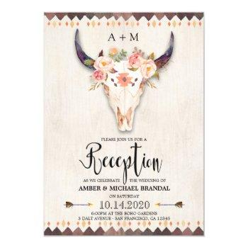 boho tribal floral antlers skull reception only invitation