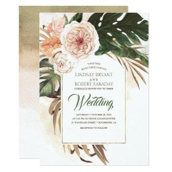 boho tropical floral desert wedding invitation