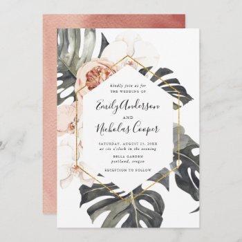 boho tropical floral   wedding invitation