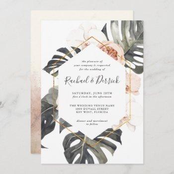 boho tropical floral with geometric frame wedding invitation