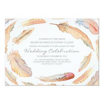 boho watercolor feathers tribal and wild wedding invitation