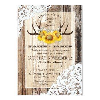 boho wood sunflower antlers lace rustic wedding invitation