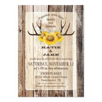 boho wood sunflower antlers rustic wedding invitation