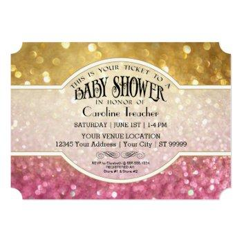 bokeh baby movie premier ticket style pink sparkle invitation