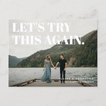 bold and cheeky typographic save the new date announcement postcard