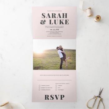 bold type modern all-in-one photo wedding tri-fold invitation
