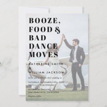 booze food and bad dance moves photo background invitation