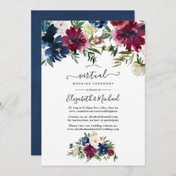 bordo and navy watercolor floral virtual wedding invitation