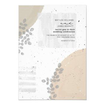 botanical abstract neutral wedding invitation