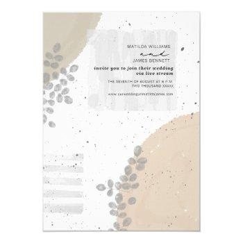 botanical abstract neutral wedding livestream invitation