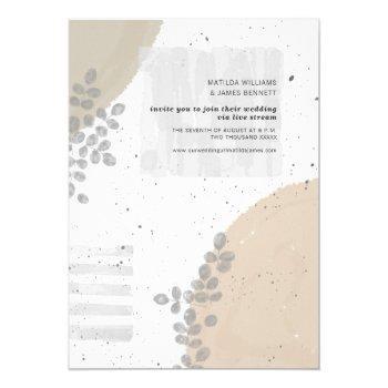 botanical abstract neutral wedding livestream invitation