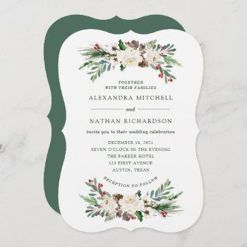 botanical christmas | floral holiday wedding invitation