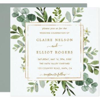 botanical gold greenery wedding square invitation