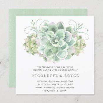 botanical green succulent bouquet square wedding invitation