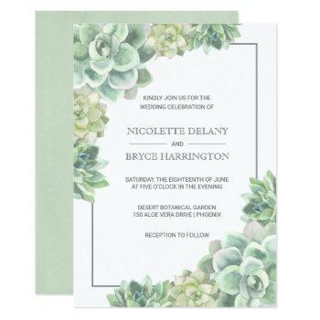 botanical green watercolor succulent frame wedding invitation