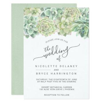 botanical green watercolor succulents wedding invitation