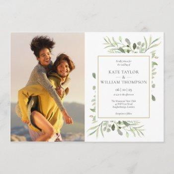 botanical greenery leaves photos wedding invitation