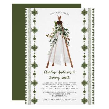botanical greenery tribal boho teepee invitation
