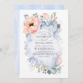 botanical peach flowers dusty blue wedding invitation