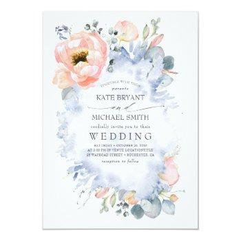 Small Botanical Peach Flowers Dusty Blue Wedding Invitation Front View
