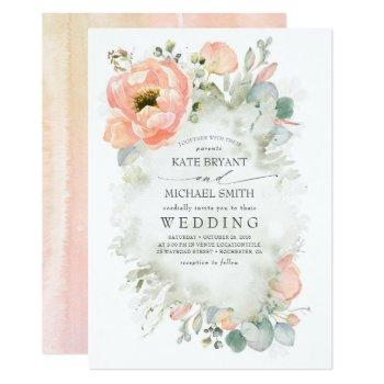 botanical peach flowers elegant garden wedding invitation