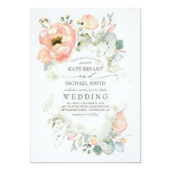 Small Botanical Peach Flowers Elegant Garden Wedding Invitation Front View