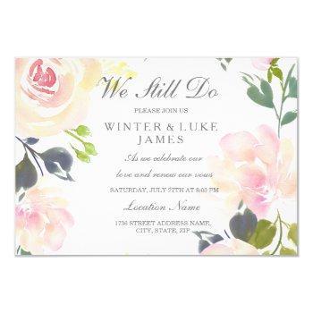 botanical pink rose vow renewal invitation