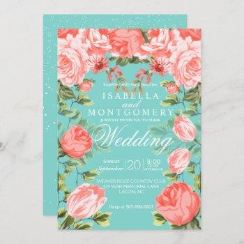 botanical  pretty teal and coral floral wedding invitation