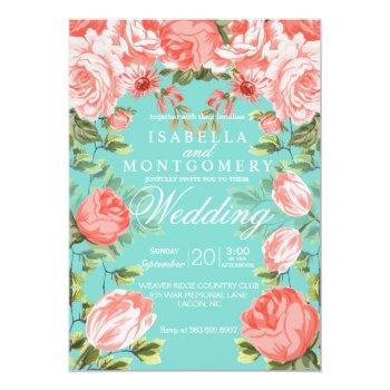 Small Botanical  Pretty Teal And Coral Floral Wedding Invitation Front View